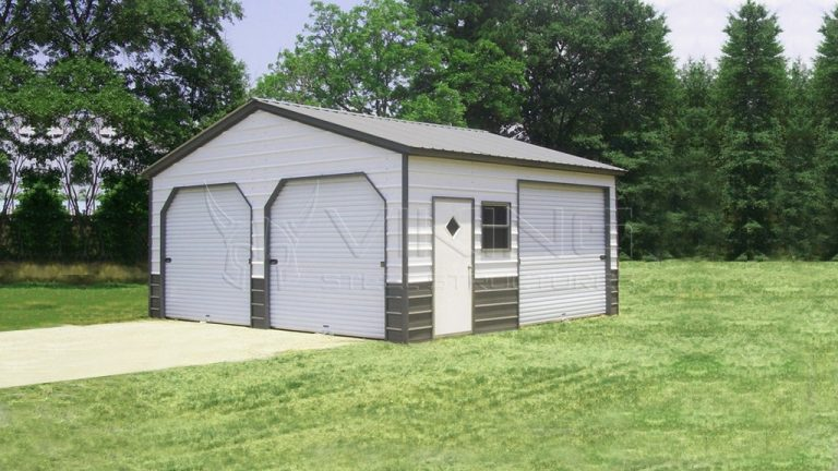 24x26 Enclosed Metal Garage