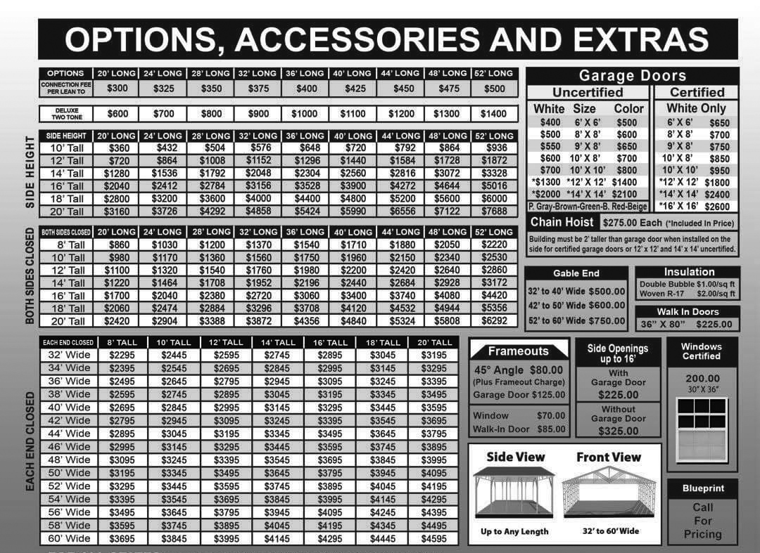 PA Commercial Building Options Accessories Price
