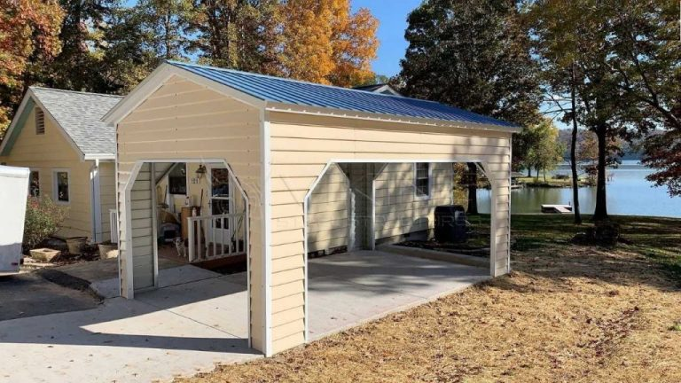12x20x10 Metal Carport with Vertical Roof