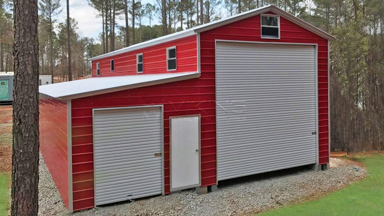 24x40x14 Utility Steel Garage with Lean-to
