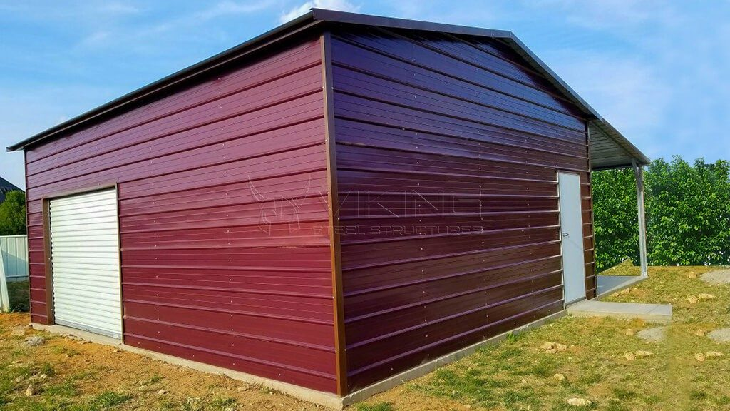 22x26x10 Enclosed Metal Building with Lean-to