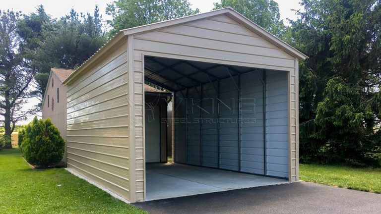 16x26x11 Partially Enclosed Metal Garage