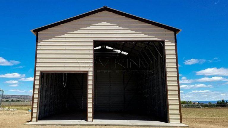 24x41x15 Enclosed Metal Garage Workshop