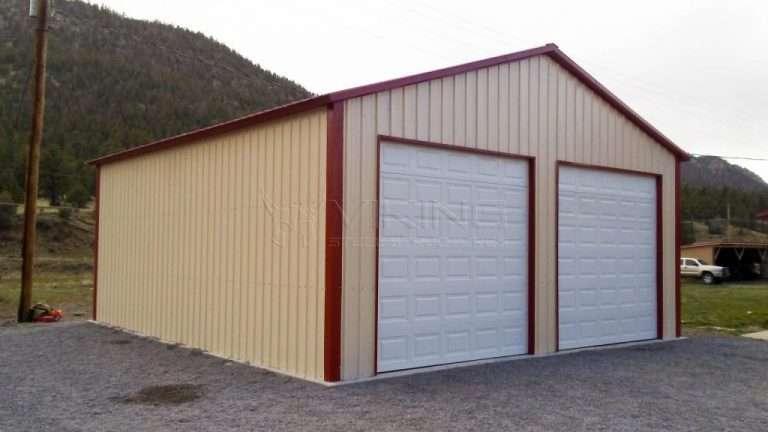 26x31x11 Full Vertical Two Car Metal Garage