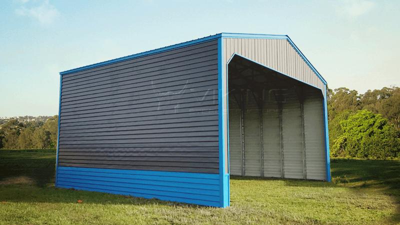 32x28x16 Metal Carport with Lap Siding