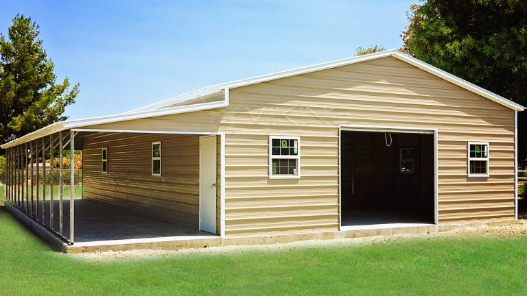 30x51x12 Enclosed Metal Garage with Lean-to