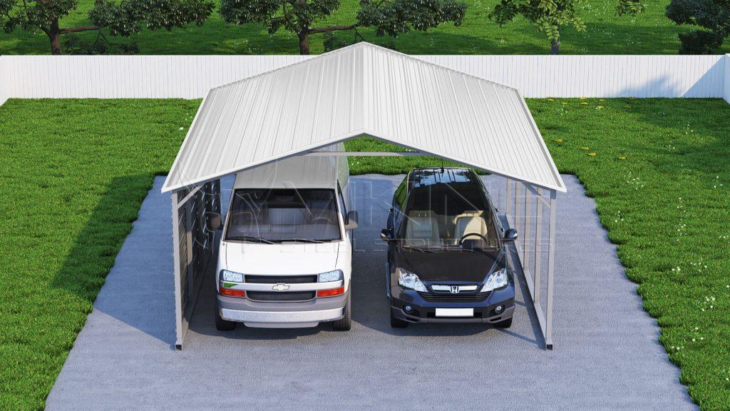 Metal Two Car Carport - Carports Garages