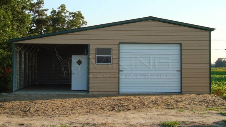 20x36x10 Vertical Roof Garage with Lean-to