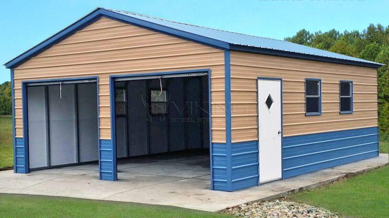 22x26x9 Fully Enclosed Metal Garage