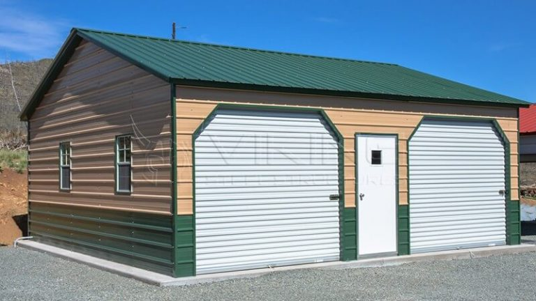24X26X9 FULLY ENCLOSED METAL GARAGE