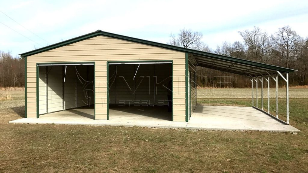 36x25x9 Lean-to Metal Garage