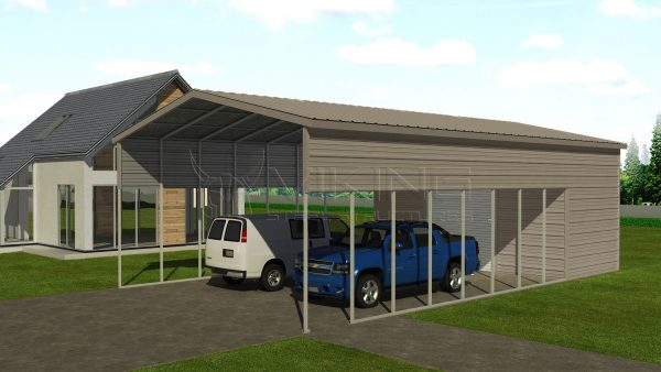 22x41 Metal Carport With Utility