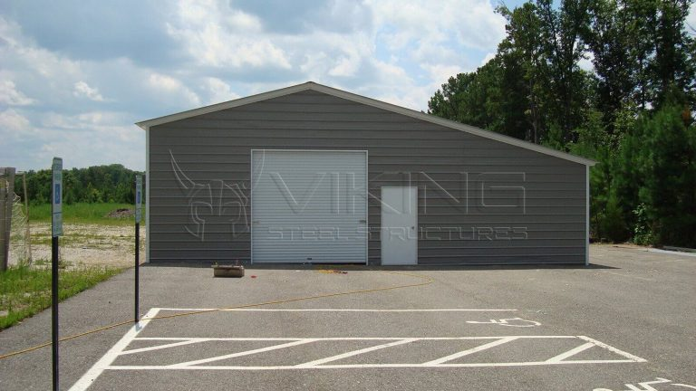 24x26x10 Fully Enclosed Garage with Lean-to