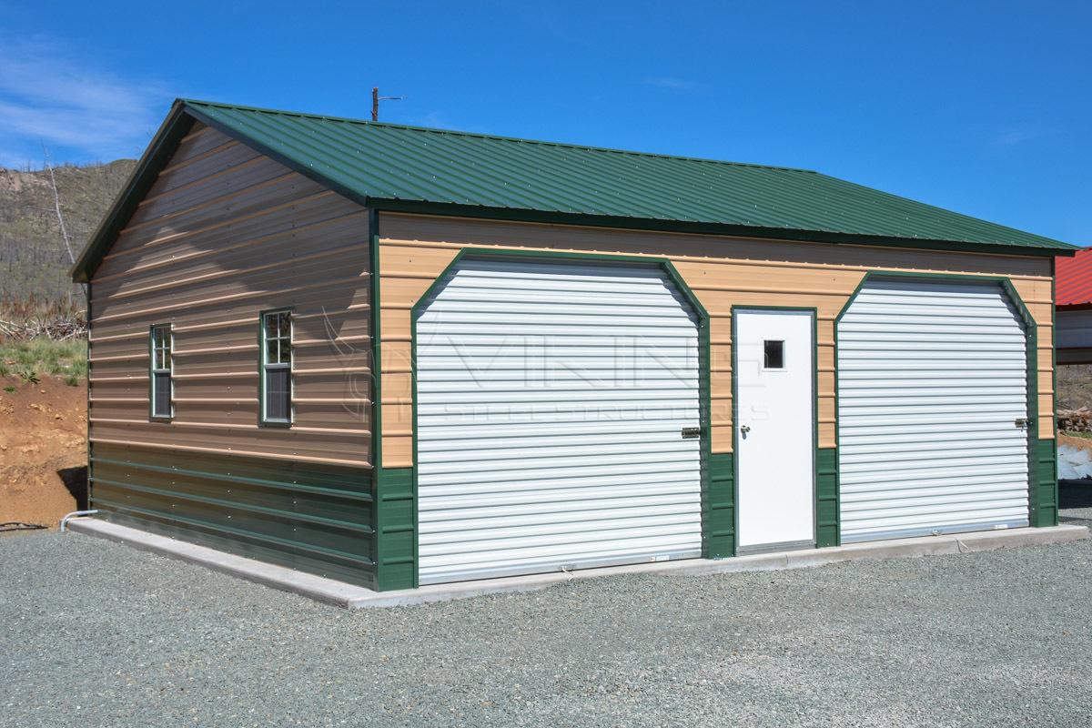 24x26x9-Two-tone-metal-garage