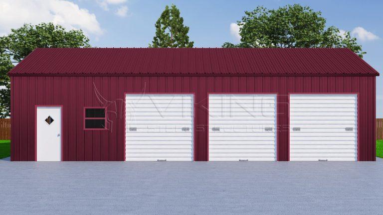 26x51 Three Car Metal Garage