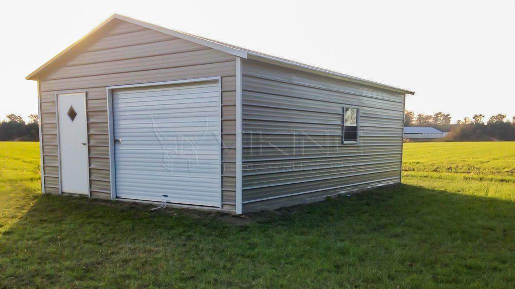 20x25x8 Enclosed Metal Garage
