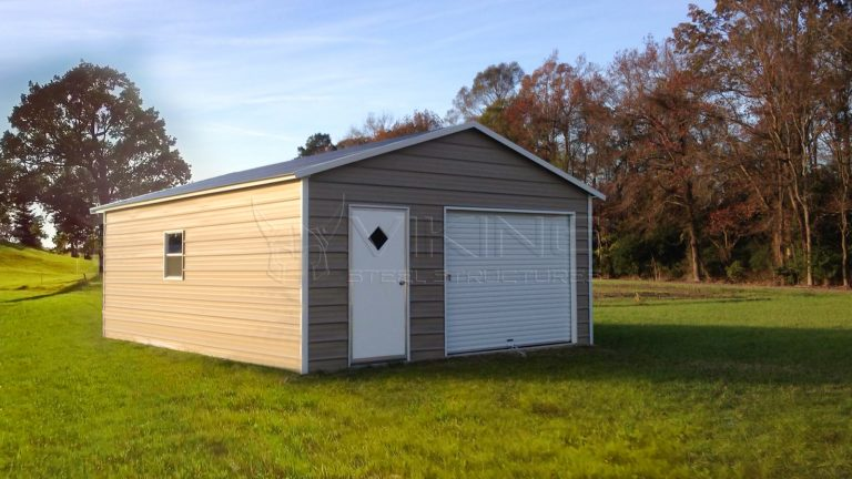 20x25x8 Enclosed Metal Garage