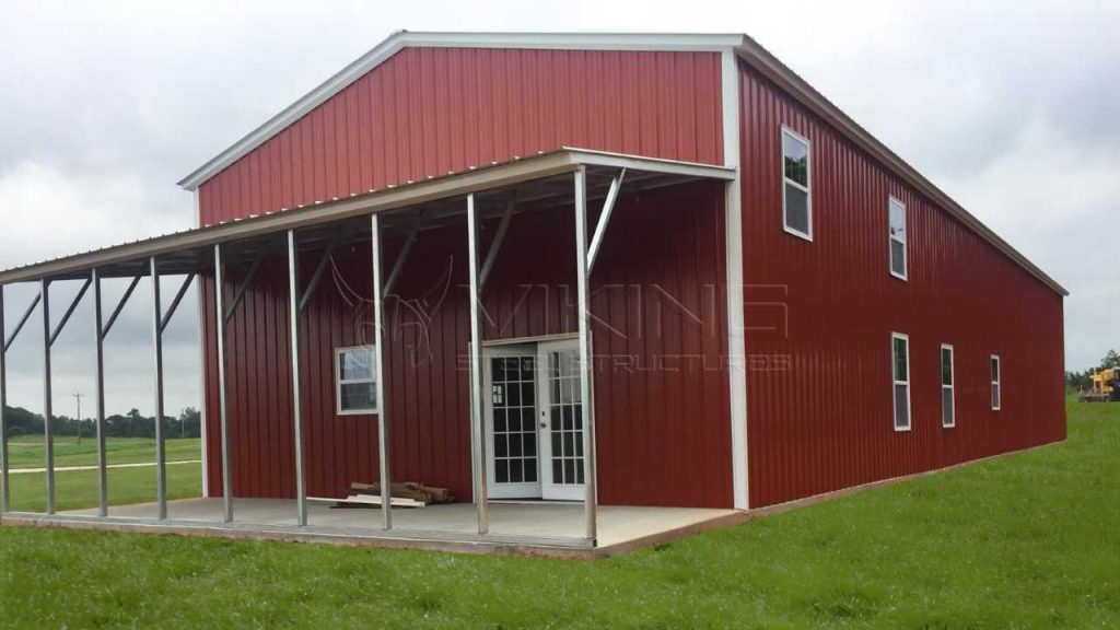 30x80x16 Vertical Garage with Lean-to