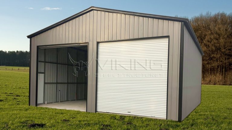 30x40x14 Vertical Enclosed Metal Garage