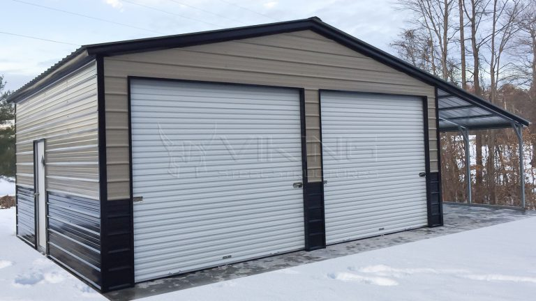 24x20x10 Metal Garage with Lean-to