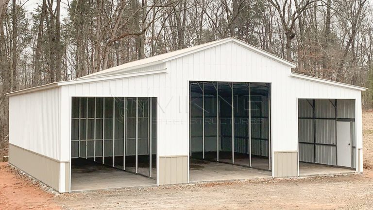 42x40x14 Two Tone Carolina Metal Barn