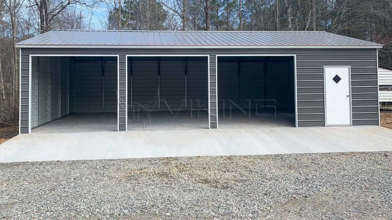 24x40x9 Three Car Metal Garage