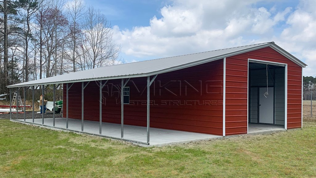 20x50x10 Metal Garage with Lean-to