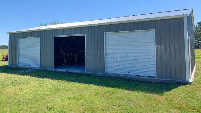 30x50x10 Three Car Metal Garage