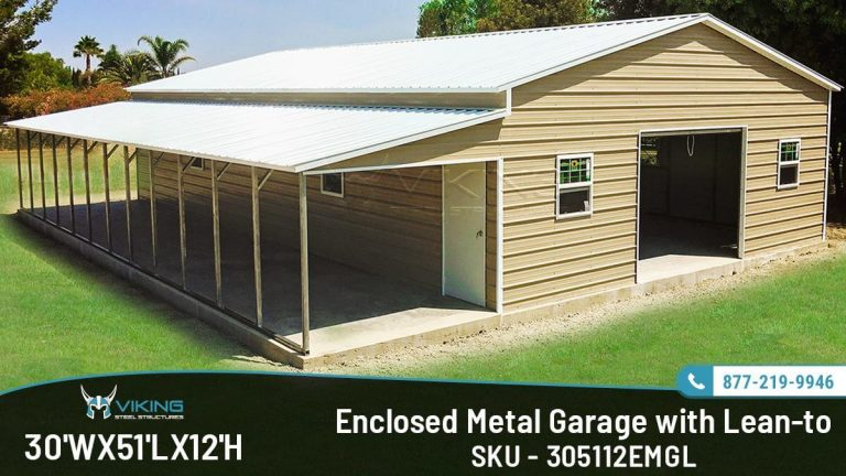 30x51x12 Enclosed Garage with Lean-to