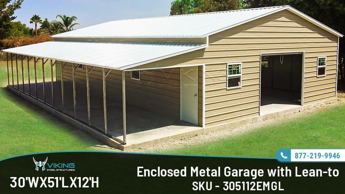30x51x12-enclosed-garage-with-lean-to