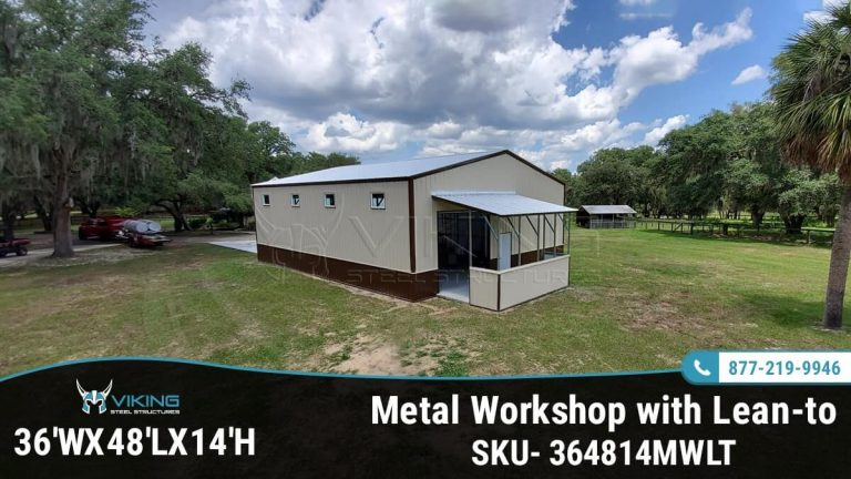 36x48x14 Metal Workshop with Lean-to