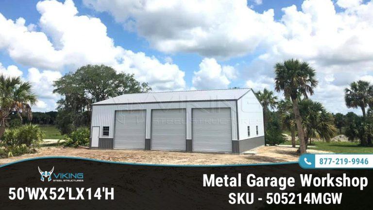 50x52x14 Metal Garage Workshop