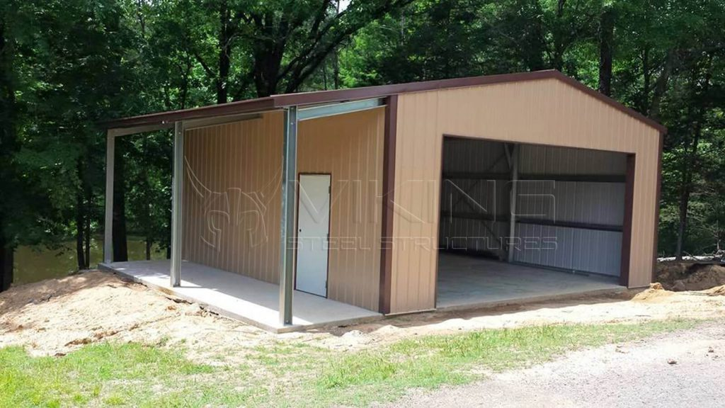 24x30x10 Vertical Garage with Lean-to