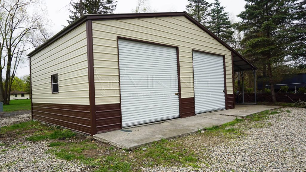 24X25X10 Metal Garage with Lean-to