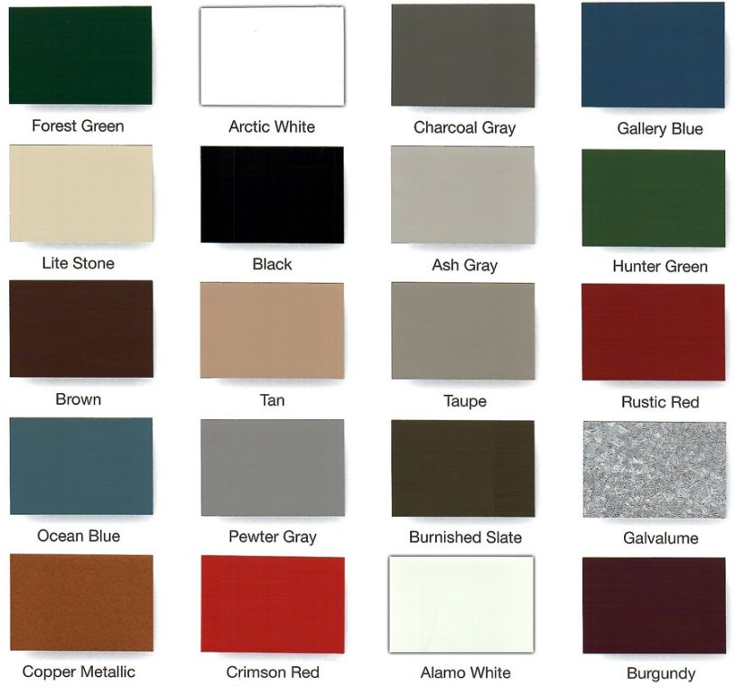 Midwest Steel Carports Color Options