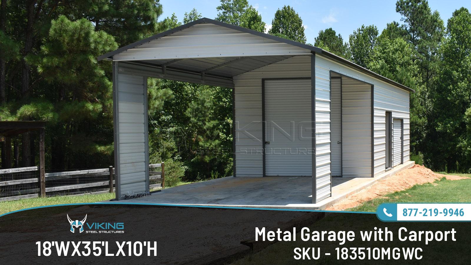 18 W X 35 L X 10 H Metal Garage With Carport