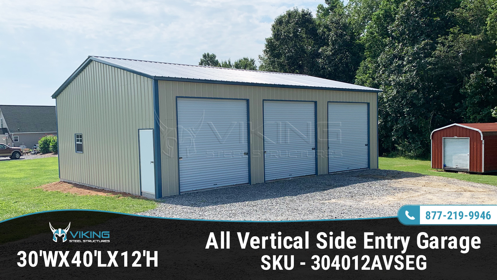 30'x40'x12' All Vertical Side Entry Garage
