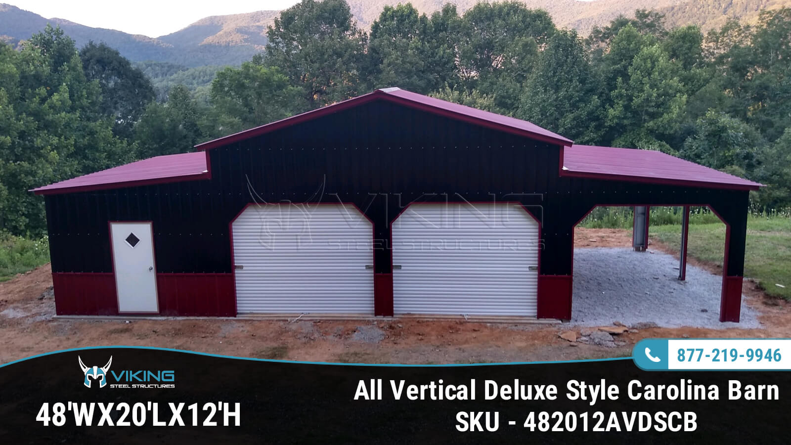 48'x20'x12' All Vertical Deluxe Style Carolina Barn