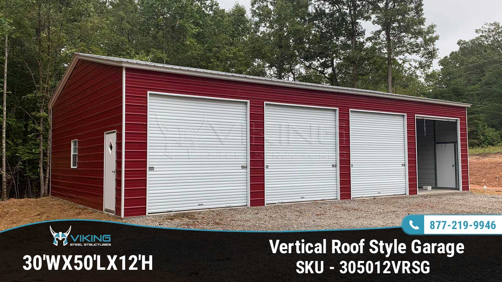 30'x50'x12' Vertical Roof Style Garage Side View