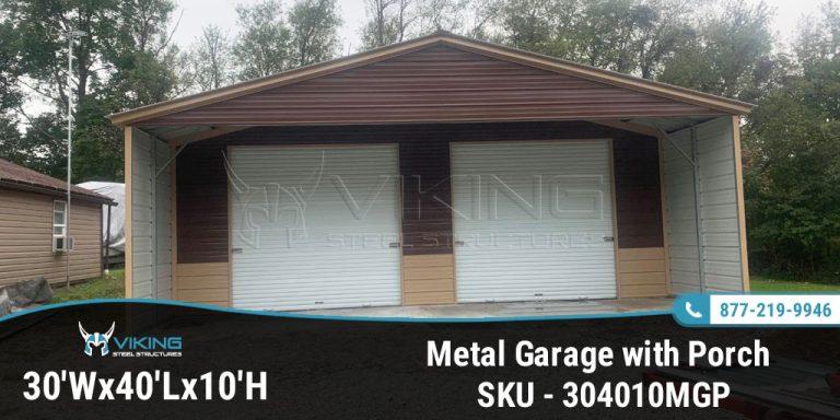 30'x40'x10′ Metal Garage with Porch