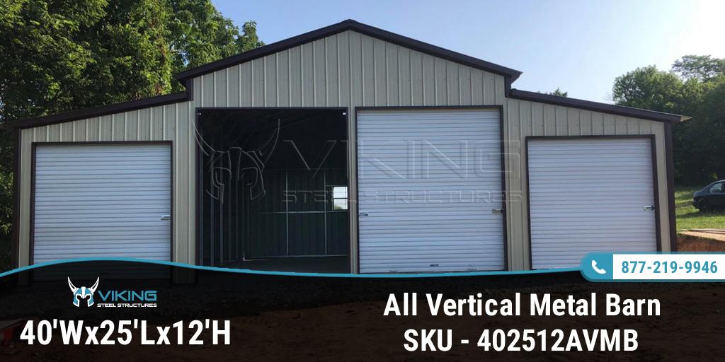 40'W x 25'L x 12'H All Vertical Metal Barn