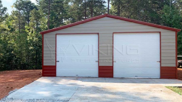 30x35x10 Fully Enclosed Metal Garage