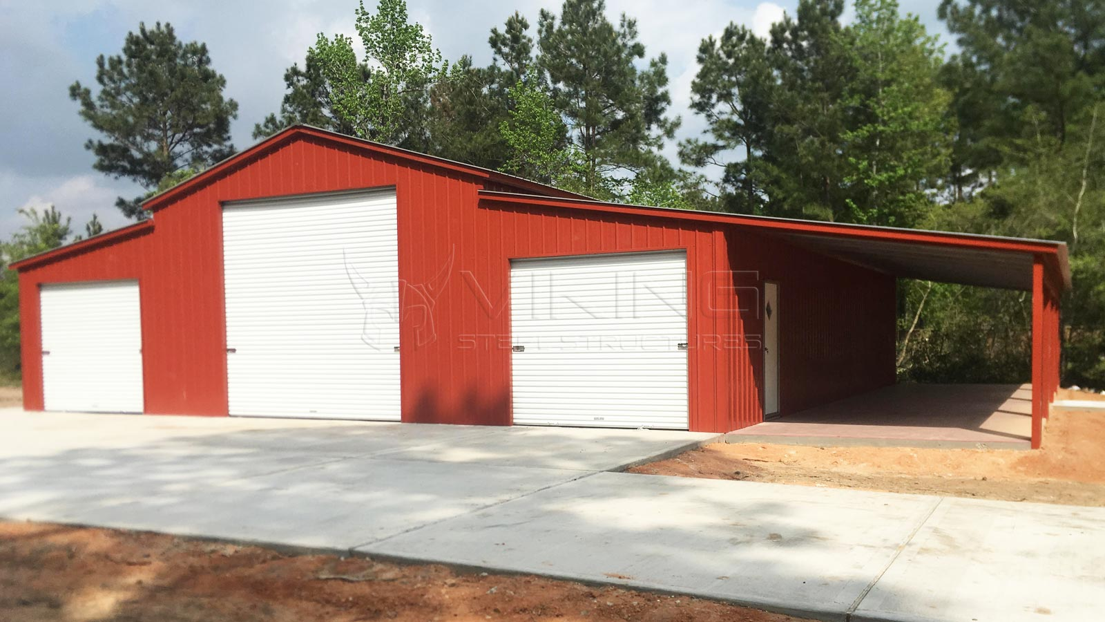 58'x50'x12' All Vertical Carolina Barn Front View