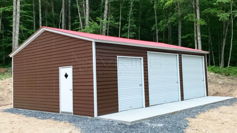 24x35x10 Fully Enclosed Metal Garage