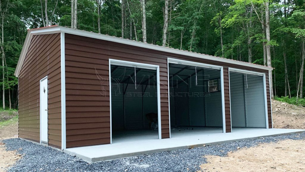 24x35x10 Fully Enclosed Metal Garage