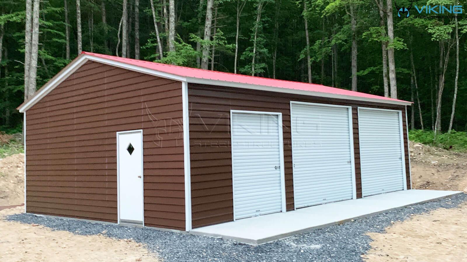 24'x35'x10' Fully Enclosed Metal Garage