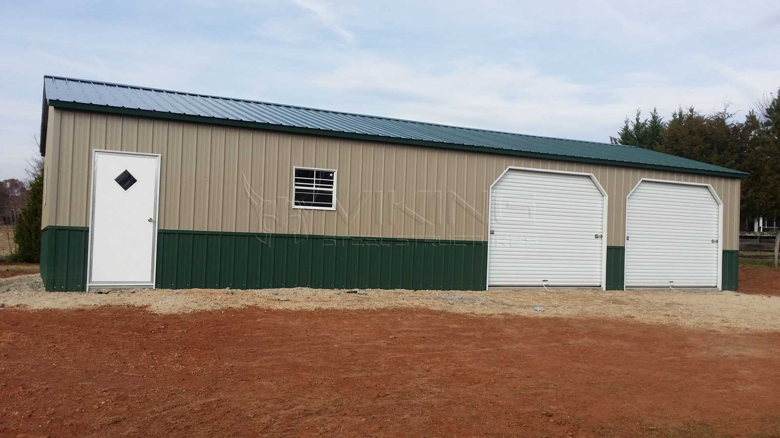 30 X55 X9 All Vertical Two Tone Garage 30x55 Steel