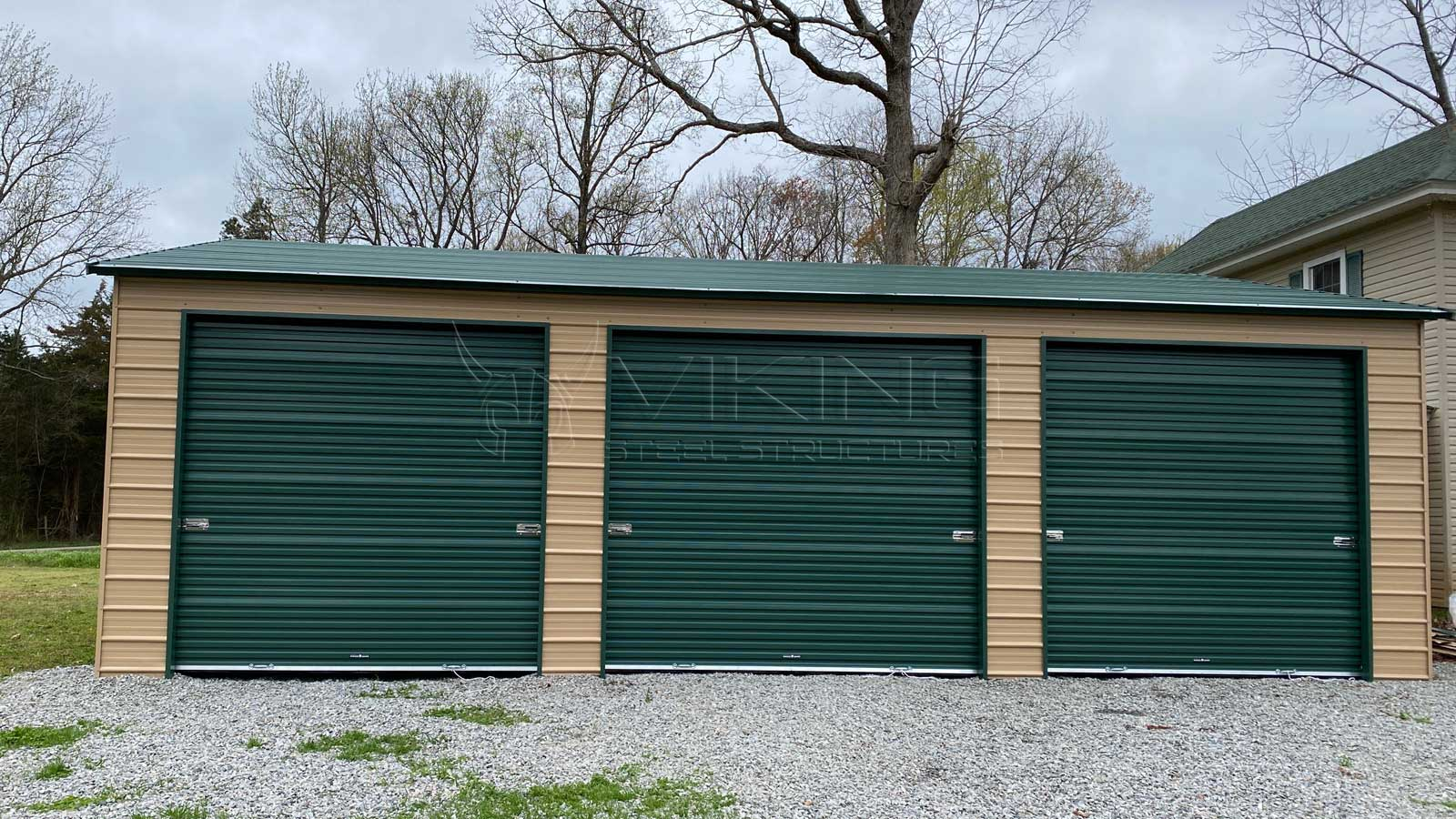 26x36 Fully Enclosed Metal Garage Front View