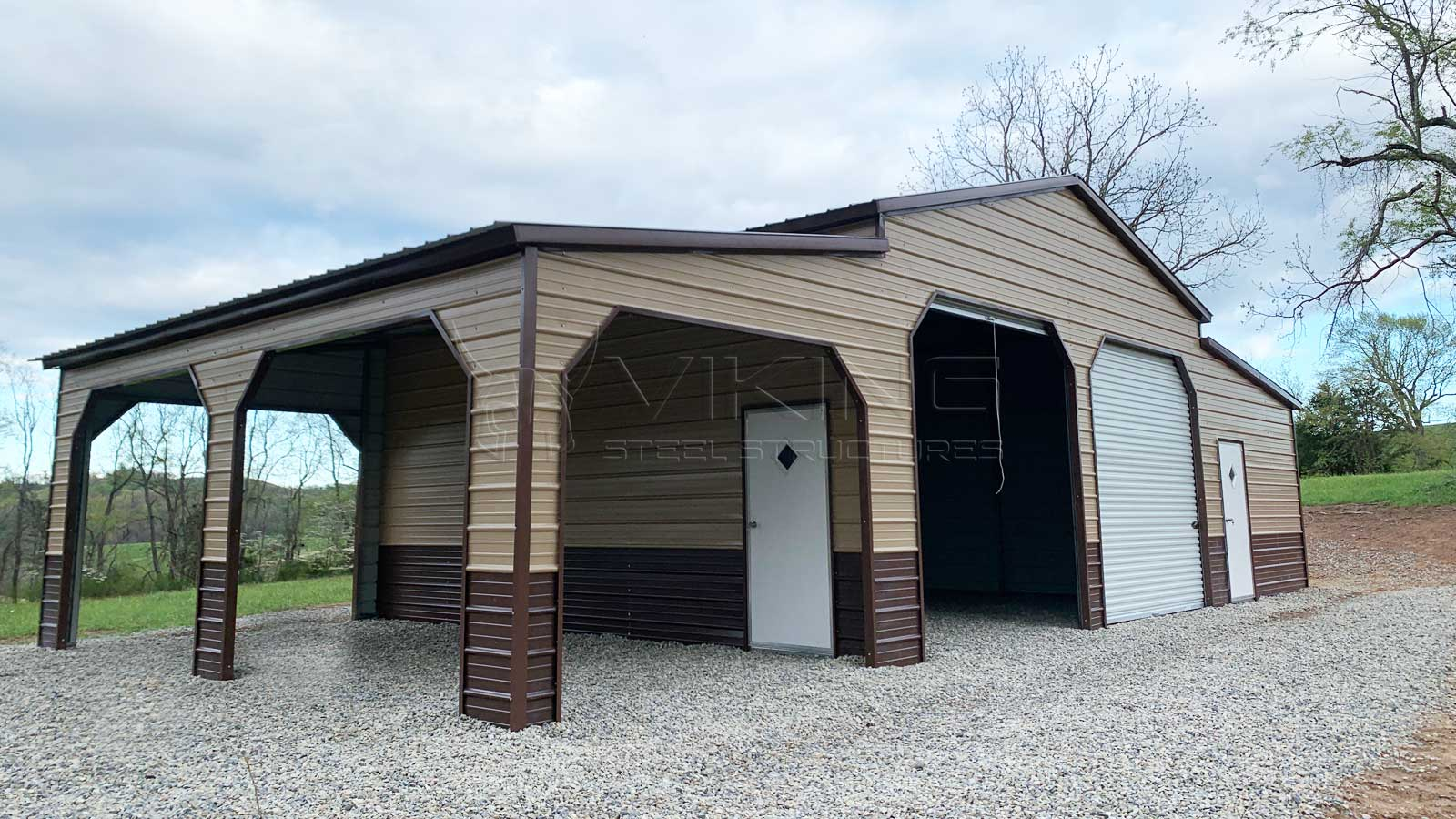 48'x25'x12' Carolina Barn Side View