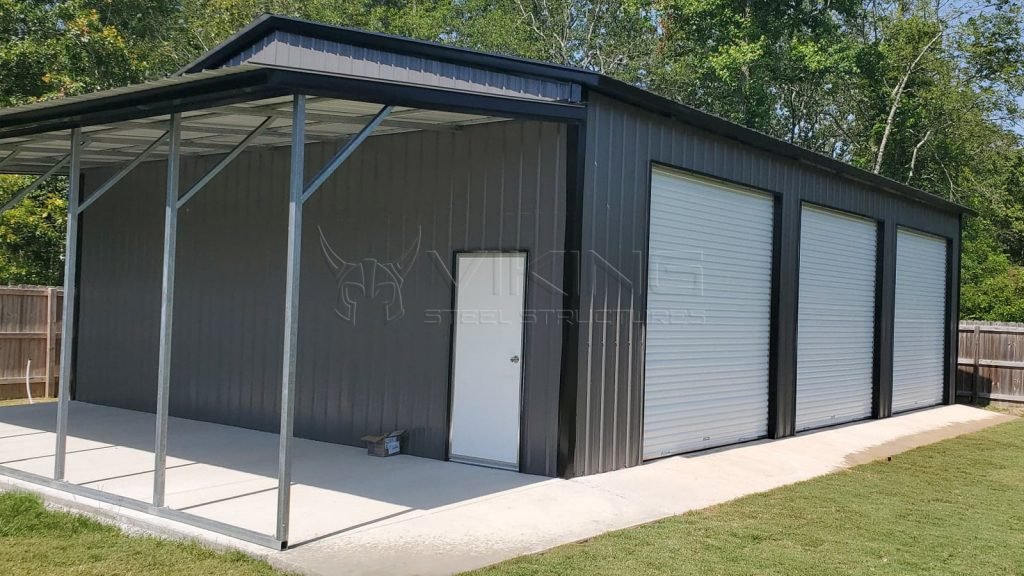 30x40x12 Metal Garage with Lean To